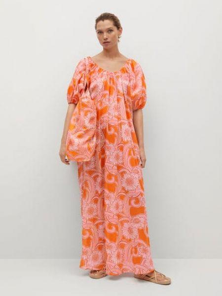 Хлопковое оранжевое платье мини с рисунком Mango
