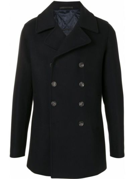 Черное кашемировое длинное пальто двубортное Giorgio Armani