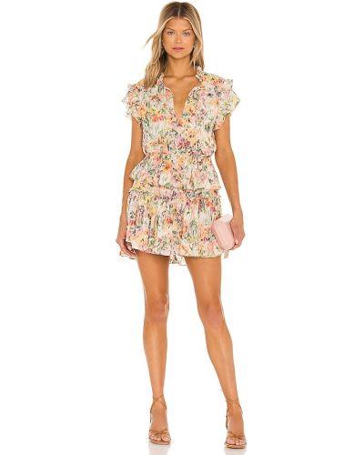 Платье с подкладкой золотое в горошек с декольте Misa Los Angeles