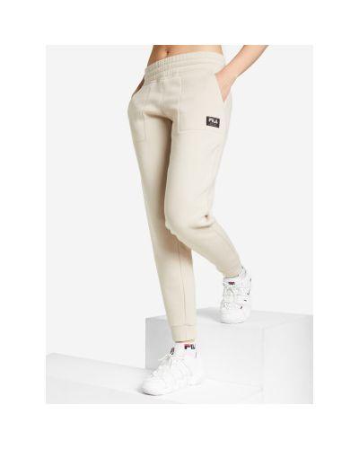 Спортивные брюки из полиэстера - бежевые Fila