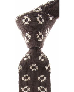 Biały krawat bawełniany Isaia