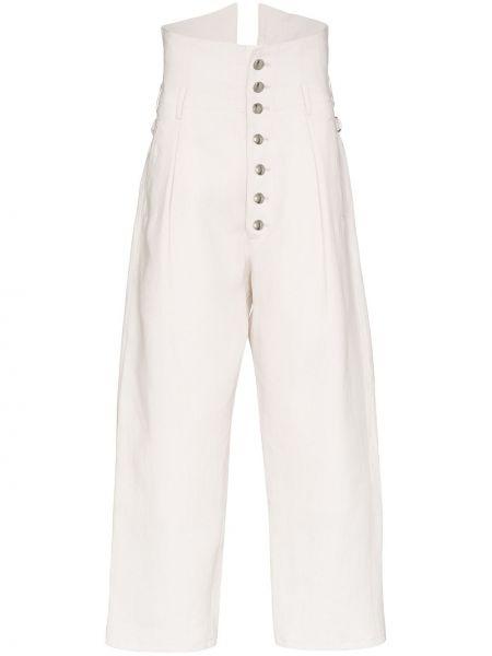 Białe ciepłe spodnie skorzane Sulvam