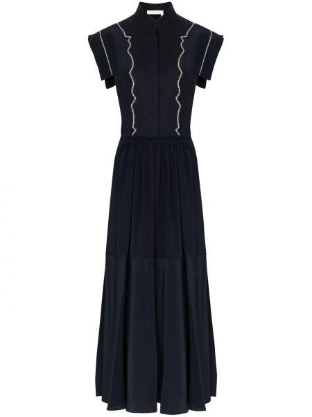 Черное расклешенное платье миди с воротником с короткими рукавами Chloé