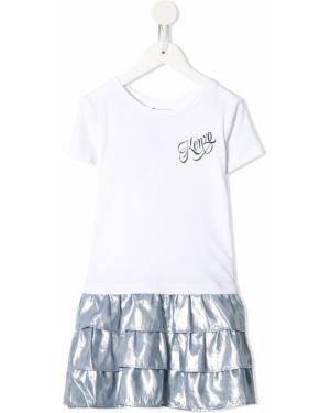 Biała sukienka mini krótki rękaw bawełniana Kenzo Kids