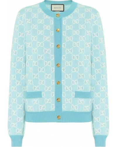 Ватный шерстяной бирюзовый кардиган Gucci