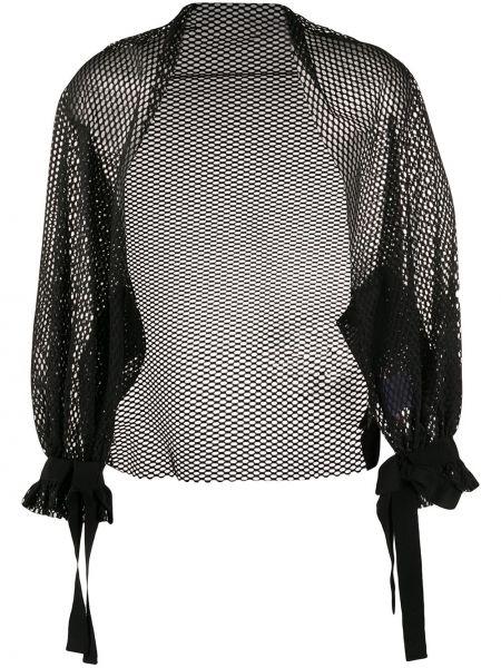 Черная длинная куртка с манжетами с длинными рукавами Gina