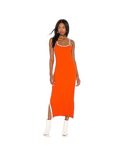 Оранжевое трикотажное платье миди в полоску Solid & Striped