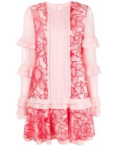 Платье макси розовое с цветочным принтом Three Floor