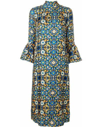 Платье миди с воротником синее La Doublej