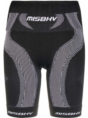 Prążkowane czarne legginsy sportowe materiałowe Misbhv