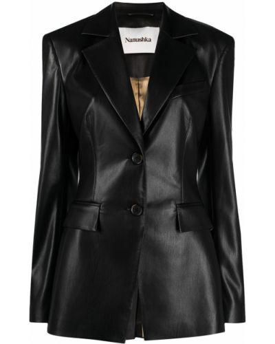 Однобортный черный кожаный удлиненный пиджак Nanushka