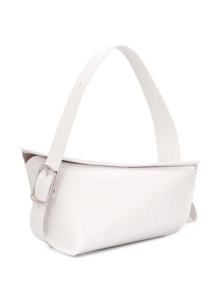 Кожаная асимметричная белая кожаная сумка Venczel