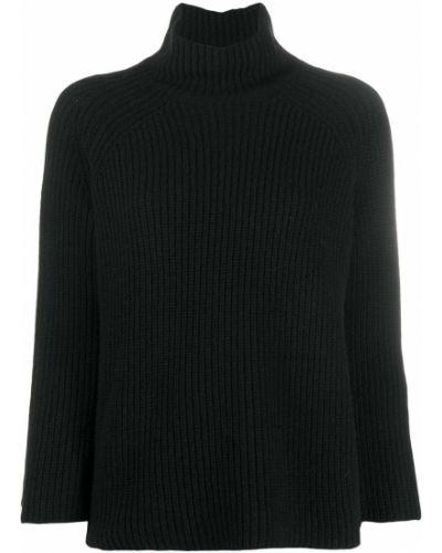 С рукавами шерстяной приталенный черный джемпер Gentry Portofino