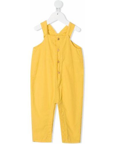Хлопковый желтый комбинезон без рукавов Knot