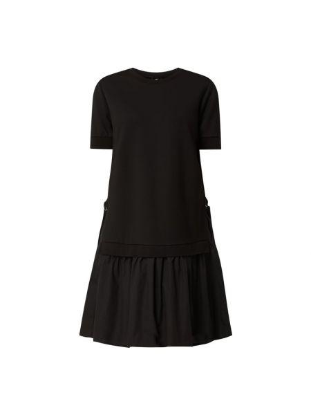 Czarna sukienka mini rozkloszowana z falbanami Riani