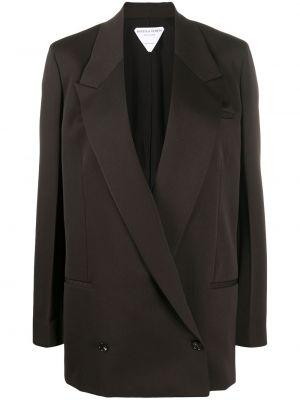 Коричневый удлиненный пиджак оверсайз с карманами Bottega Veneta