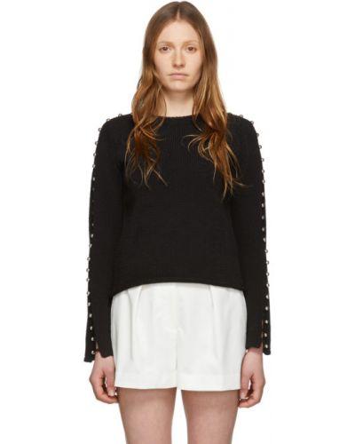 Черный длинный свитер с воротником на пуговицах 3.1 Phillip Lim