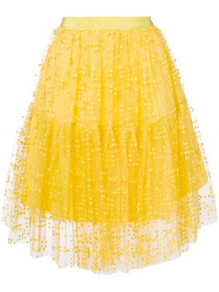 Плиссированная желтая юбка мини из фатина Si-jay