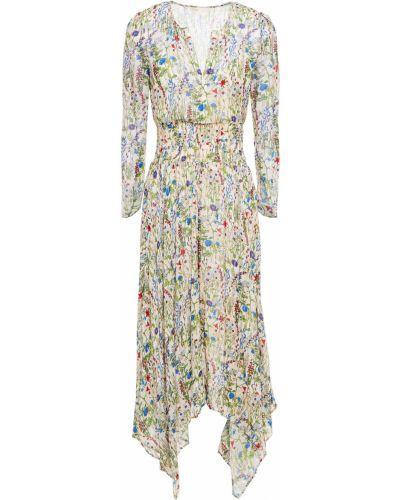 Асимметричное шифоновое бежевое платье миди Maje