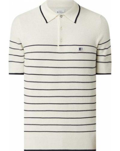 Biały prążkowany t-shirt bawełniany Ben Sherman