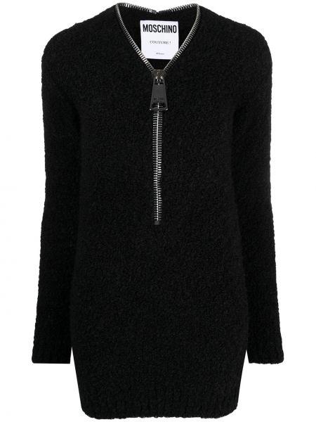 С рукавами шерстяное черное платье мини Moschino