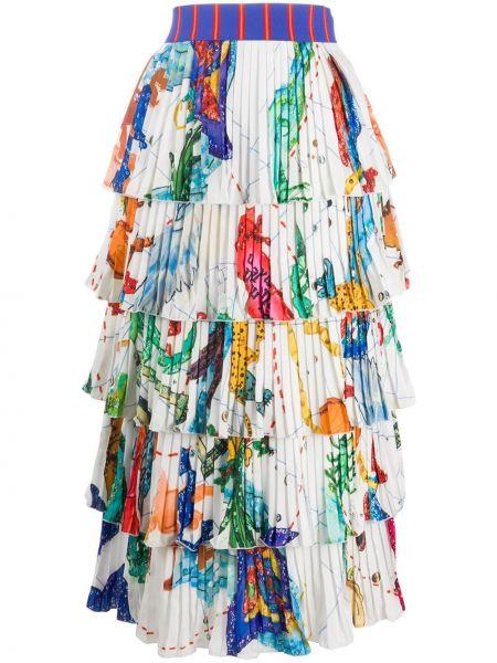 Плиссированная белая с завышенной талией юбка миди из вискозы Stella Jean