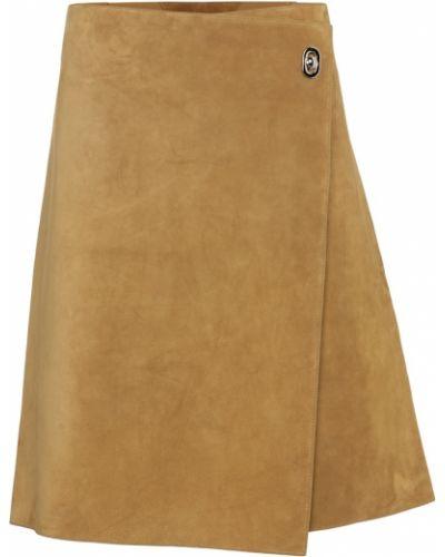 Бежевая кожаная юбка до середины колена Bottega Veneta