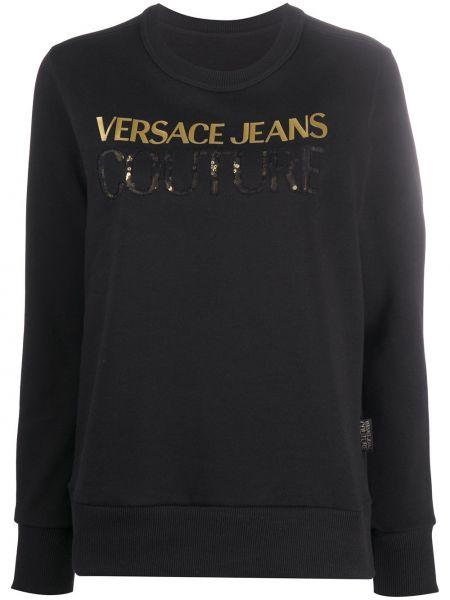 Черная футболка с длинными рукавами с вырезом Versace Jeans Couture
