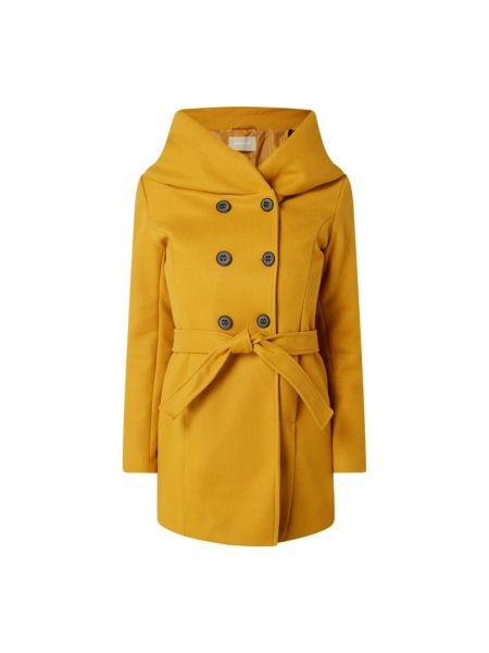 Żółty płaszcz z kapturem zapinane na guziki Amber & June