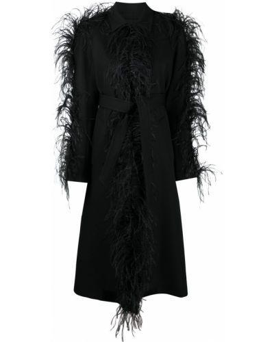 Шерстяное черное длинное пальто на пуговицах Giambattista Valli