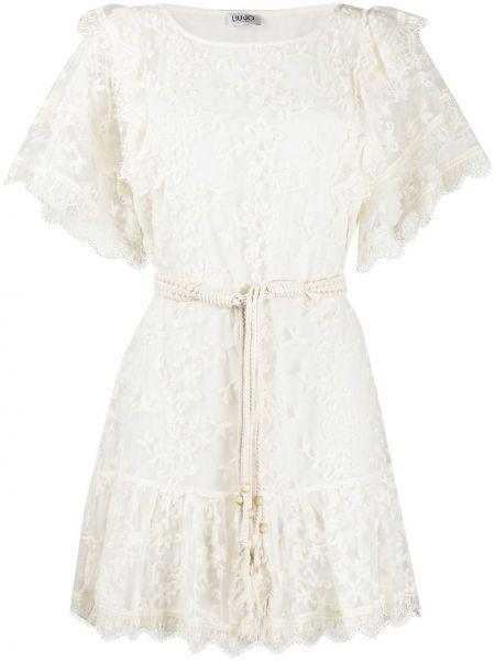Ажурное белое платье мини с вышивкой Liu Jo