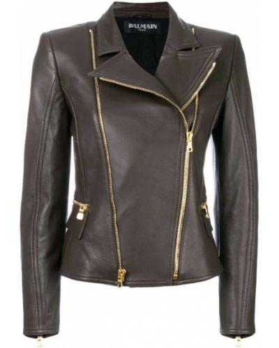 Кожаная куртка байкерская хлопковая Balmain