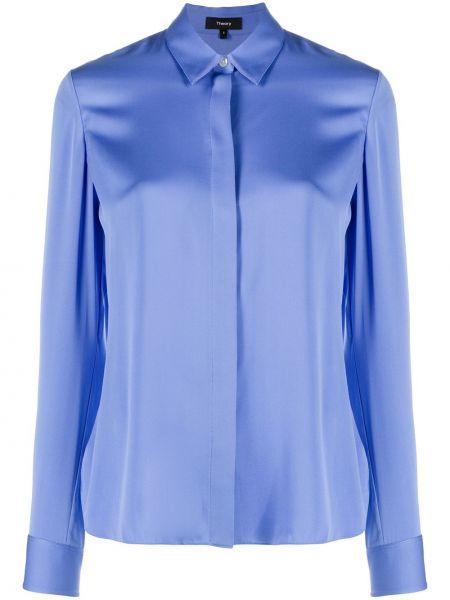 Синяя прямая классическая рубашка с воротником на пуговицах Theory