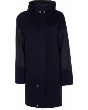 Шерстяное пальто с капюшоном с воротником на молнии айвори Les Copains