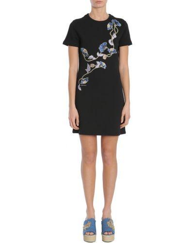 Czarna sukienka mini krótki rękaw Carven