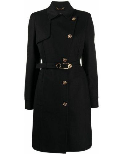 Płaszcz wełniany rozkloszowany klamry Versace