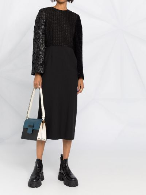Хлопковое черное платье макси с вырезом Comme Des Garçons