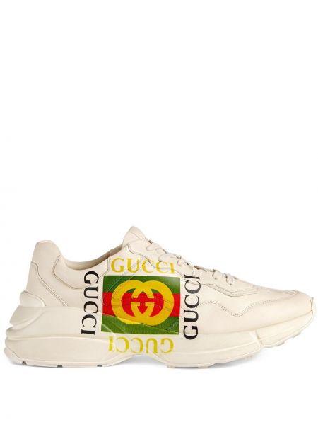 Beżowy skórzany skórzane sneakersy zabytkowe gruba podeszwa Gucci