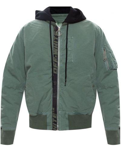 Prążkowana zielona kurtka z kapturem Off-white