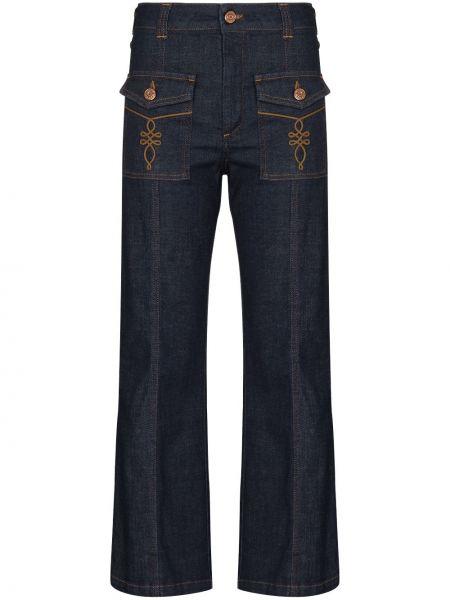 Хлопковые темно-синие расклешенные джинсы с карманами с заплатками See By Chloé