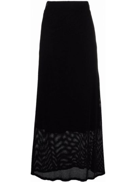 Хлопковая расклешенная черная юбка макси Barena