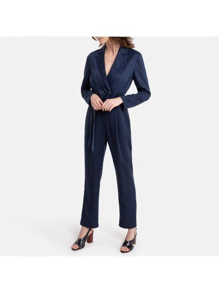 Синий кожаный свободные комбинезон с поясом La Redoute