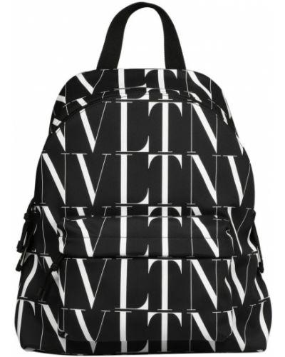 Czarny plecak sportowy na co dzień w paski Valentino