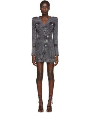 Джинсовое платье макси на пуговицах Balmain