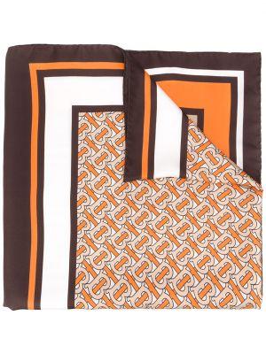 Brązowy szalik w paski z jedwabiu Burberry