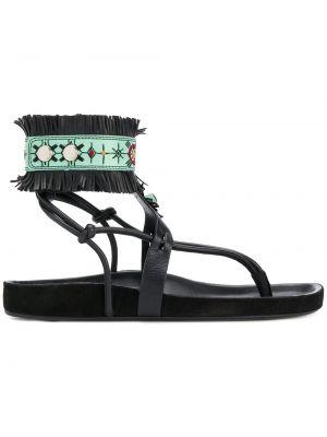 Czarne sandały skorzane eleganckie Isabel Marant
