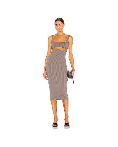 Серое трикотажное платье с подкладкой H:ours