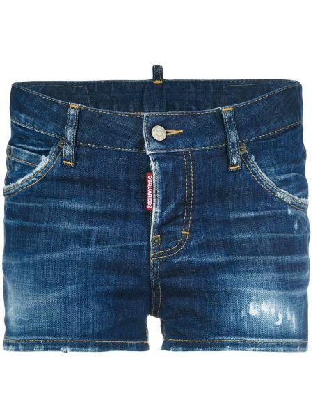 Джинсовые шорты в клетку кожаный Dsquared2