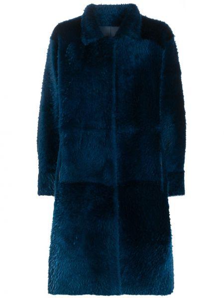 Однобортное синее кожаное пальто с воротником из овчины Liska