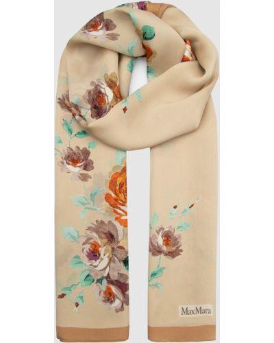 Бежевый шелковый шарф Max Mara